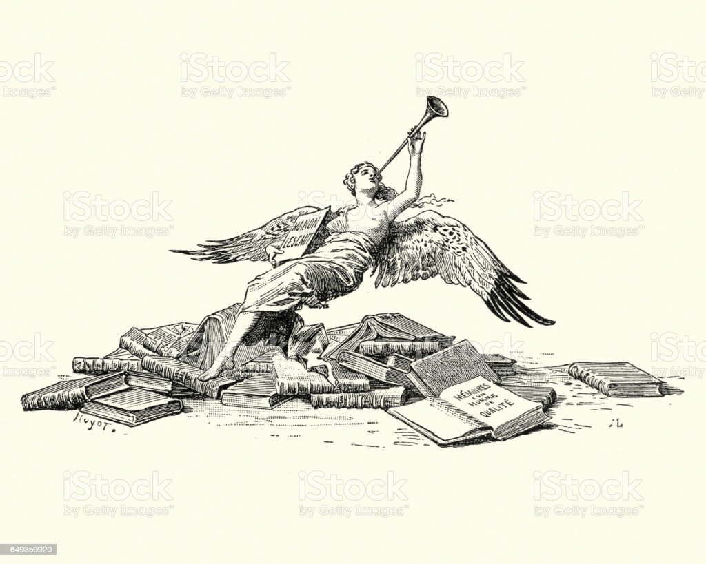 Angel blowing the trumpet over a pile of books vector art illustration