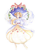 Angel Christmas new year watercolor illustration image on white background