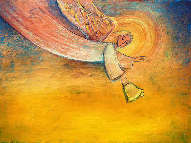 Angel holding bell vector art illustration