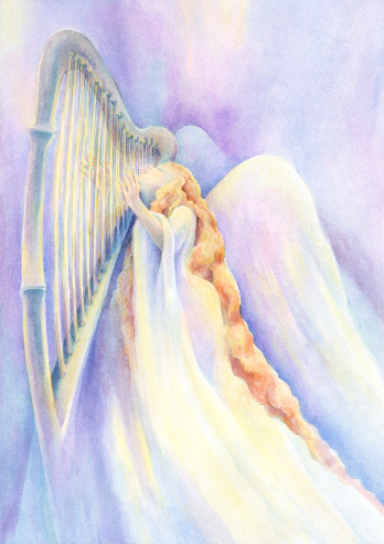 Angel In Rapture Playing Heavenly Music On The Harp