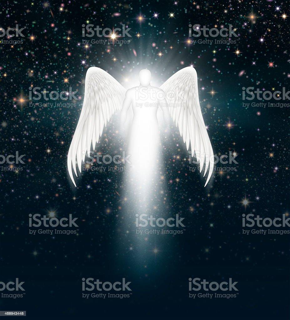 Ángel en el cielo nocturno - ilustración de arte vectorial