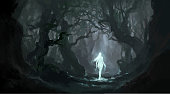 istock Angel in the quiet primeval forest, digital painting. 1295448512