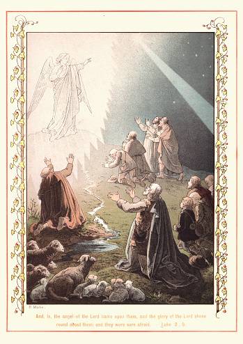 Victoria illustration from the Story of the Holy Child, by Paul Mohn. And, lo, the Angel of the Lord come upon them, and the glory of the Lord shone round about them and they were sore afraid. 1890