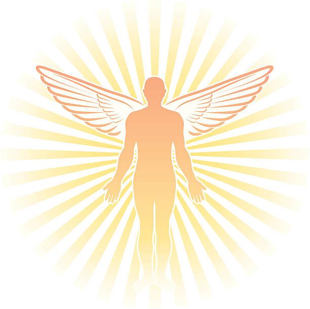 angel-silhouette - schutzengel stock-grafiken, -clipart, -cartoons und -symbole