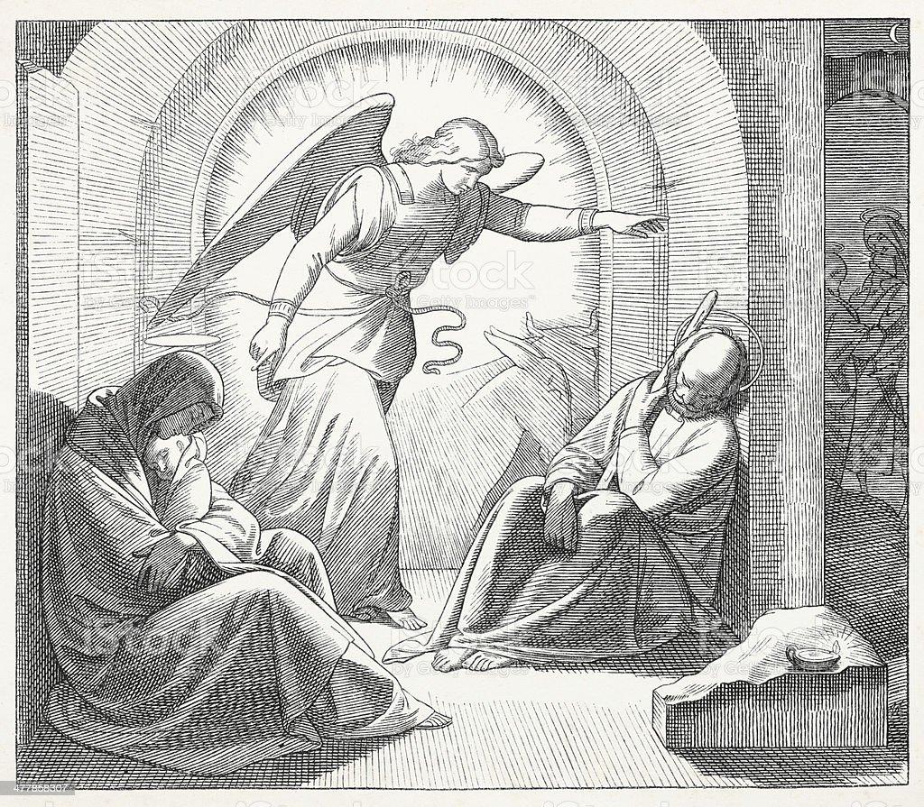 Angel telling Joseph leaving Bethlehem royalty-free angel telling joseph leaving bethlehem stock vector art & more images of 19th century
