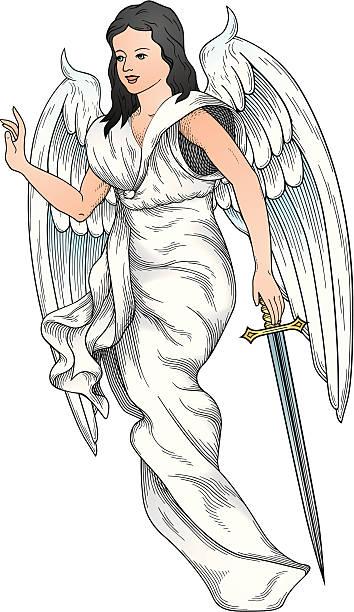 angel vektor - schutzengel stock-grafiken, -clipart, -cartoons und -symbole