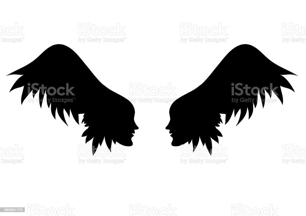 Ailes d'ange. Deux faces avec des ailes au lieu de cheveux. - Illustration vectorielle