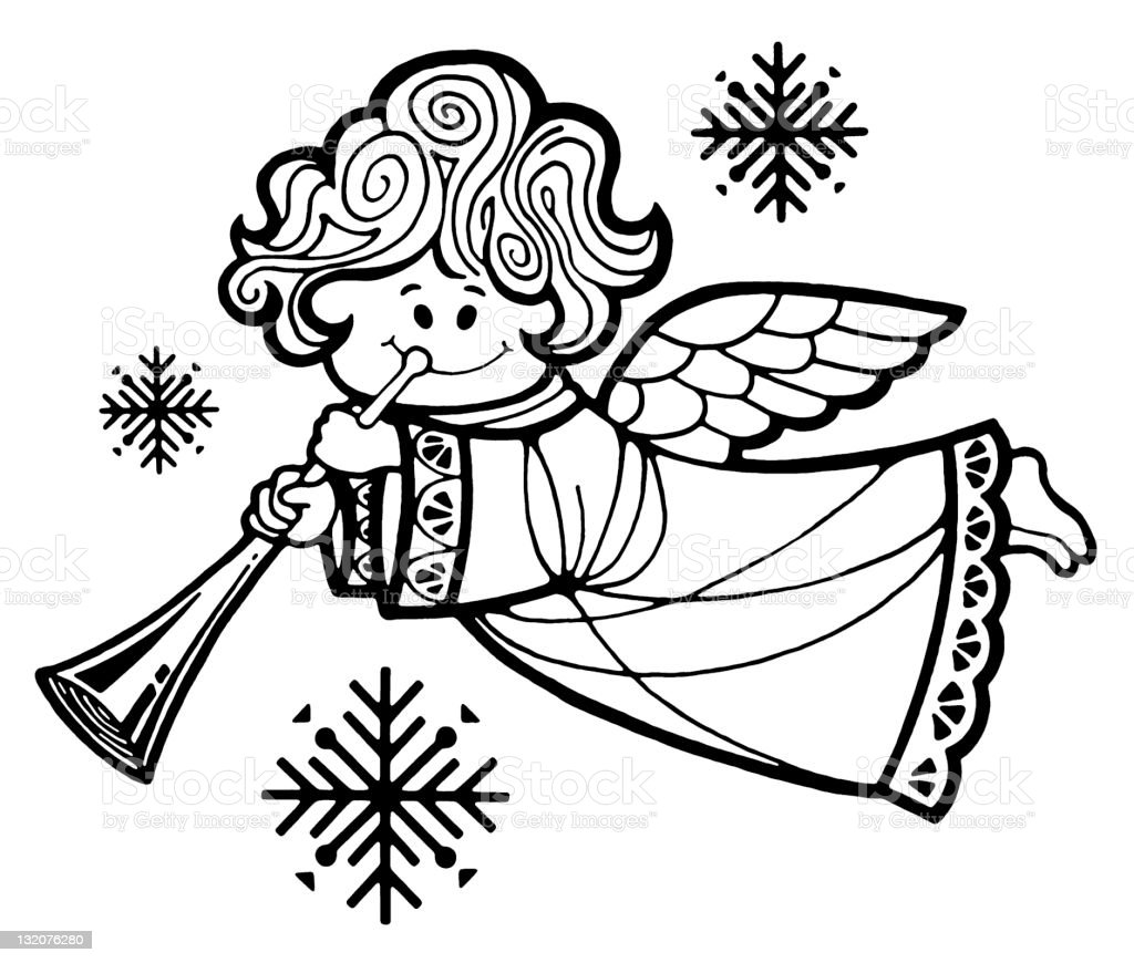 Angel With Horn royalty-free stock vector art