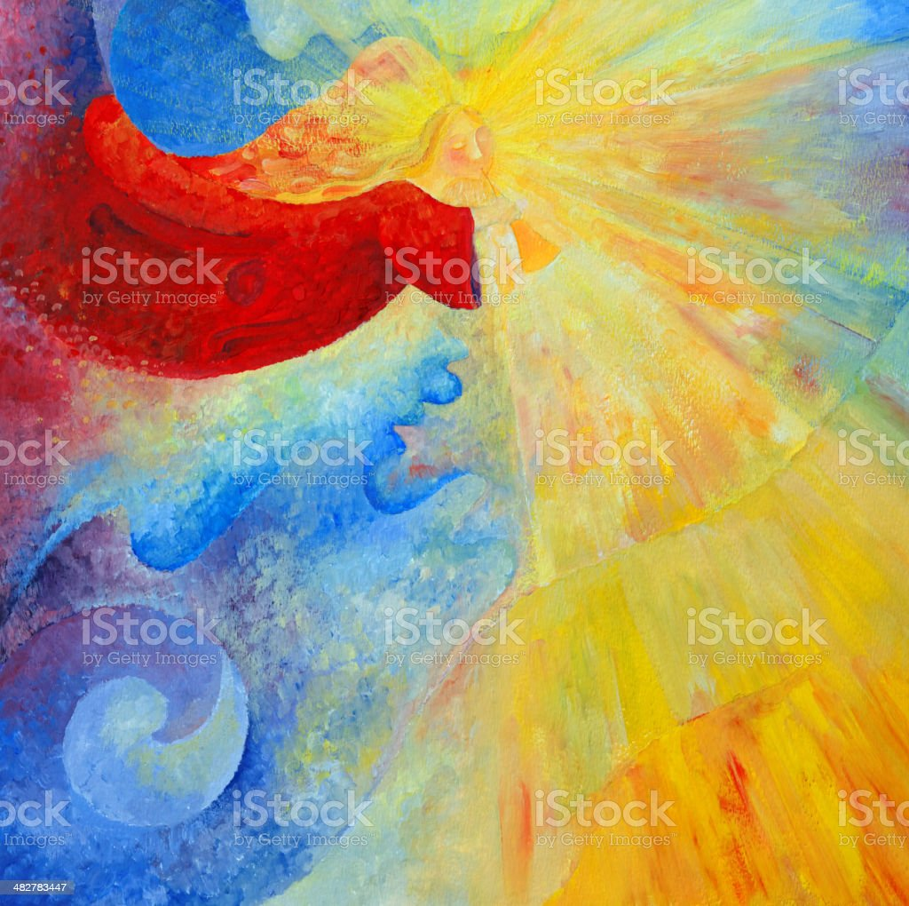 angel with trumpet and light rays vector art illustration