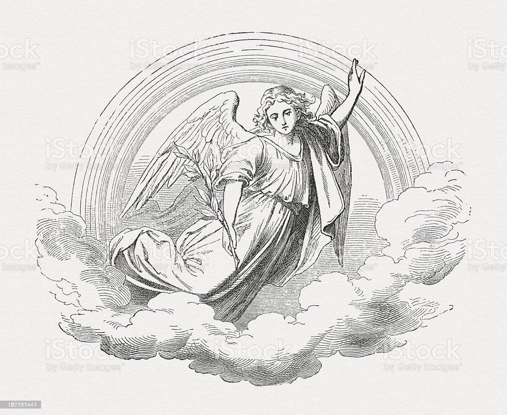 Angel, wood engraving, published in 1877 vector art illustration