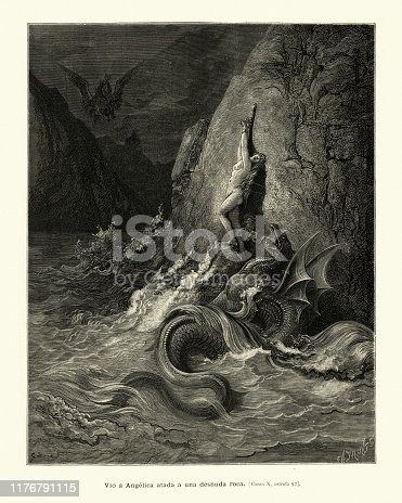 Vintage illustration from the story Orlando Furioso. Angelique chained to a rock and attacked by a sea monster. Orlando Furioso (The Frenzy of Orlando) an Italian epic poem by Ludovico Ariosto, illustrated by Gustave Dore. The story is also a chivalric romance which stemmed from a tradition beginning in the late Middle Ages.