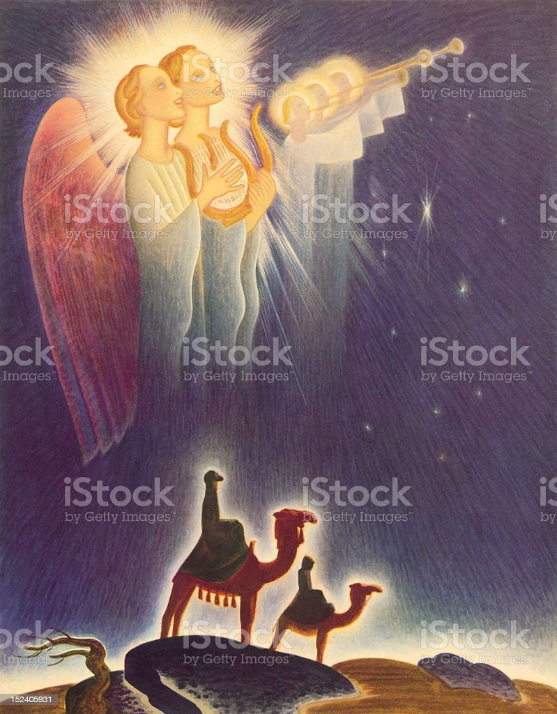 Angels and Two Wisemen royalty-free stock vector art