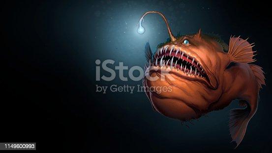 istock Angler fish on background of dark blue water realistic illustration art. 1149600993