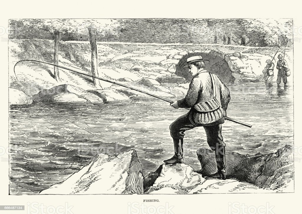Angling Victorian men fishing on the banks of a river vector art illustration