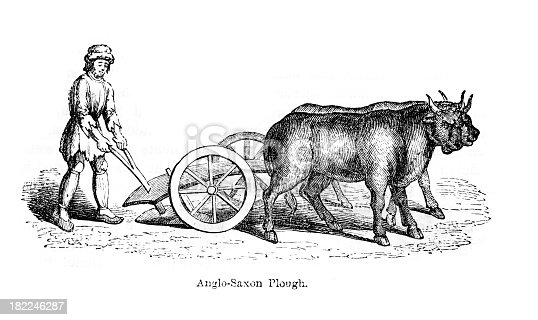 Vintage engraving of an Anglo Saxon Plough and Ploughman