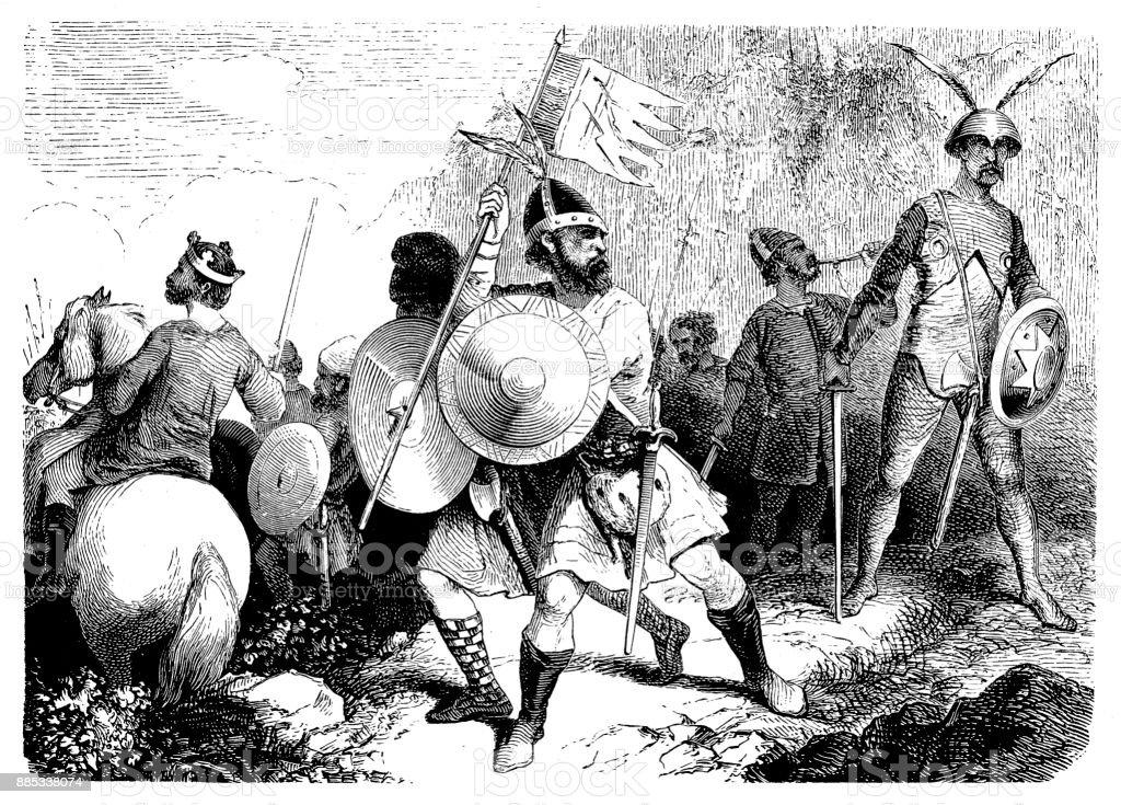 Anglo-Saxon warriors, 10th century vector art illustration
