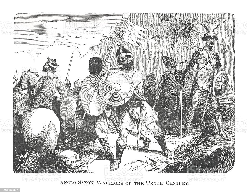 Anglo-Saxon Warriors of the Tenth Century (antique engraving) vector art illustration