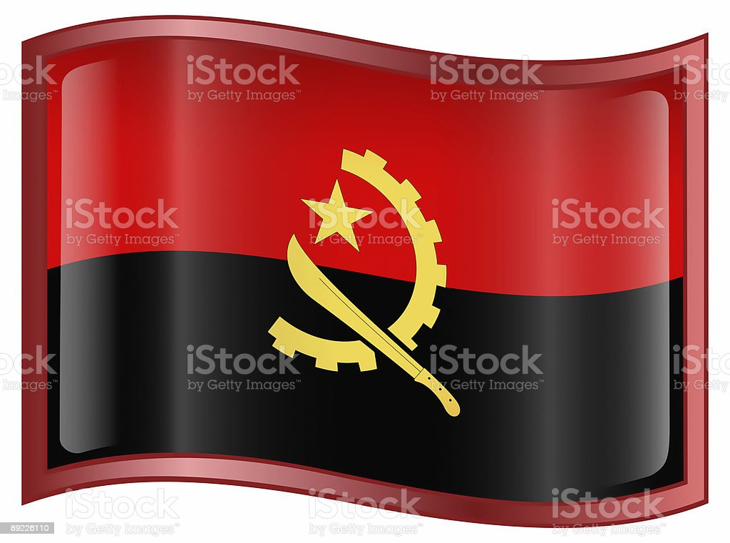 Angola Flag Icon, isolated on white background. royalty-free stock vector art