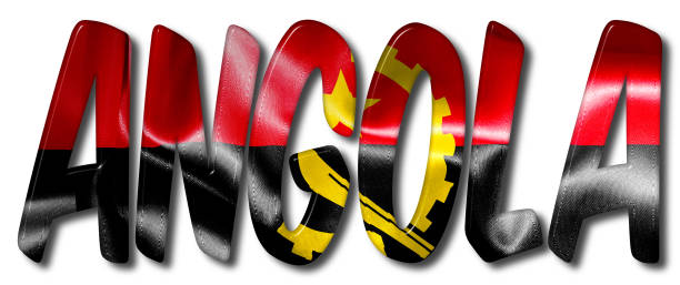 Angola Word With Flag Texture vector art illustration