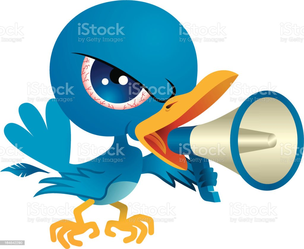 Angry Bird with Megaphone - Royalty-free Anger stock vector