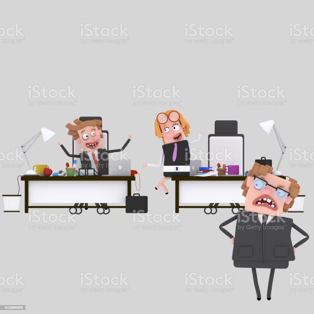 Jefe enojado buscando empleados - ilustración de arte vectorial