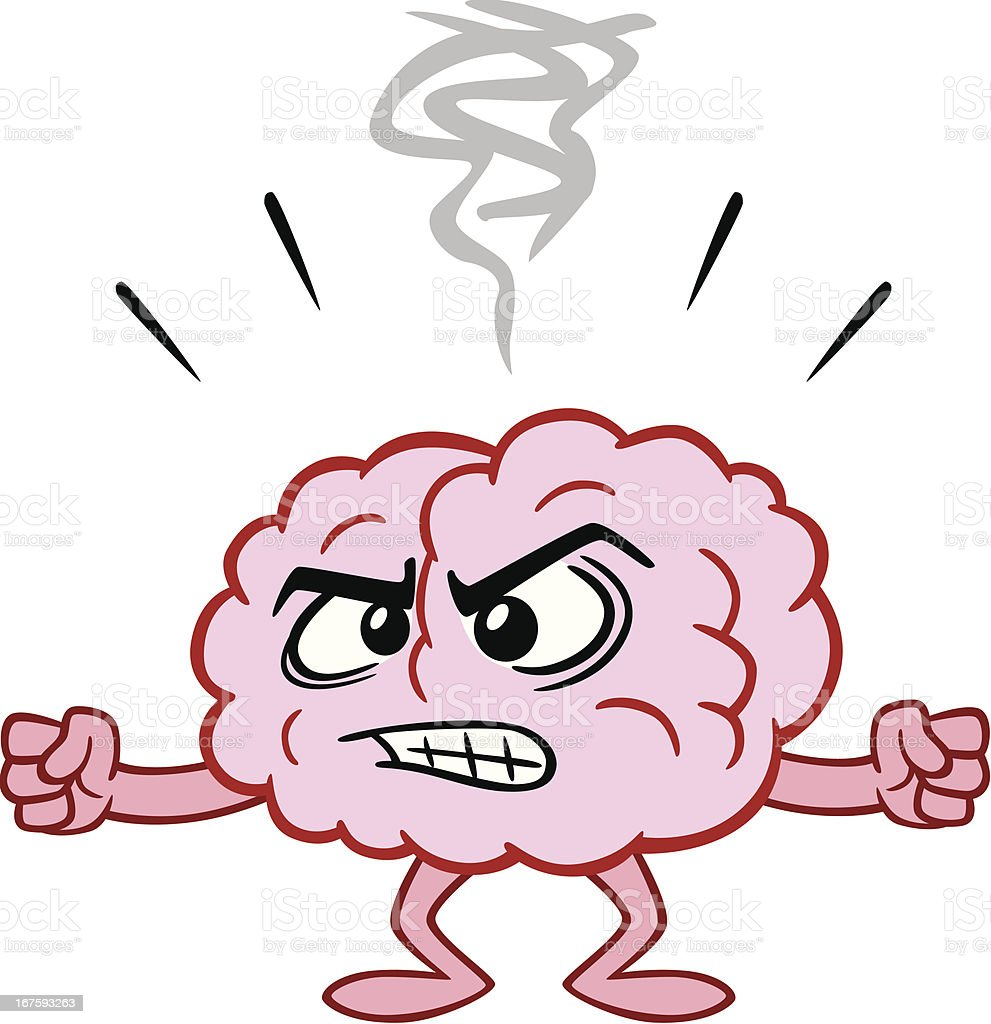 Angry Cartoon Brain vector art illustration