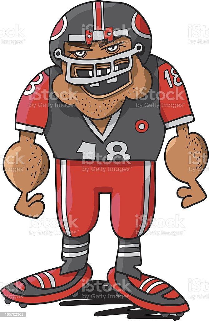 Angry Football Player Character vector art illustration