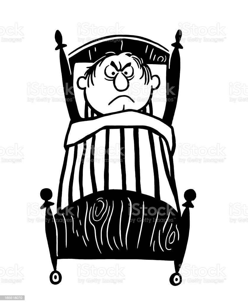Angry Man in Bed royalty-free stock vector art