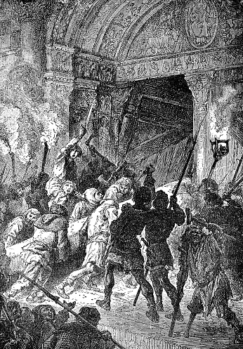 Angry mob storming a church in Scotland during the Bishops' Wars (circa 17th century). Vintage etching circa 19th century.