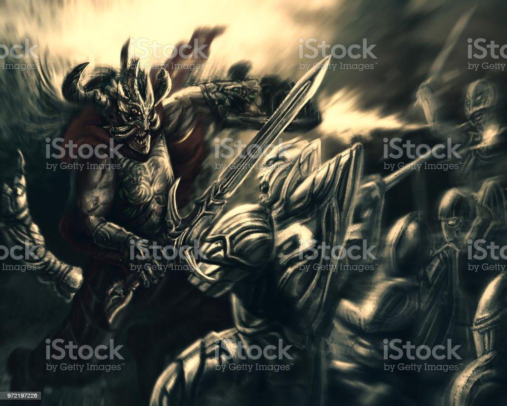 ブラスターと氷の悪魔に対して剣を持つ光の戦士を怒っています ...