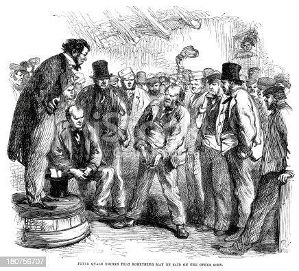 Vintage engraving from 1862 showing a group of angry workers confronting their boss