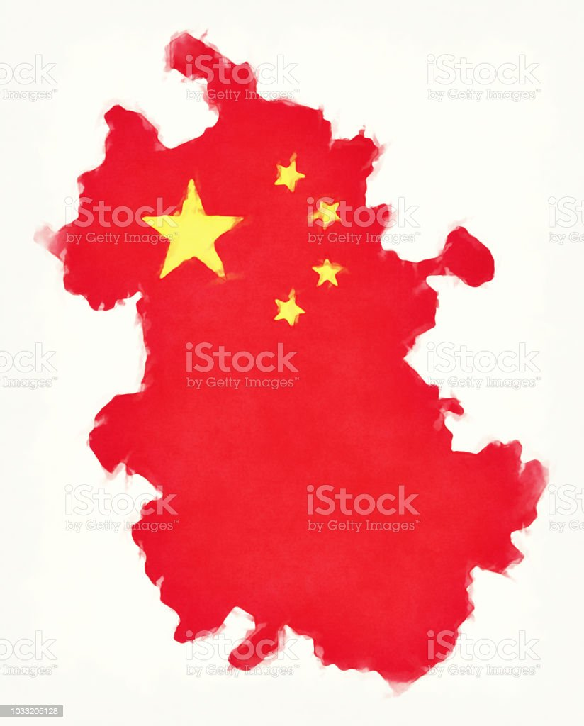 Anhui China Watercolor Map With Chinese National Flag Illustration