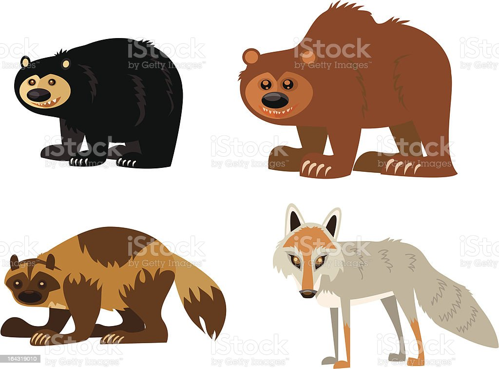 Animal Page: black bear, grizzly, wolverine, coyote vector art illustration