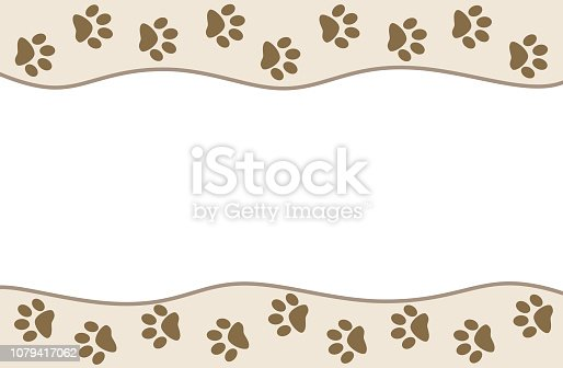 Animal paw prints on beige wave pattern background with empty space for your text.