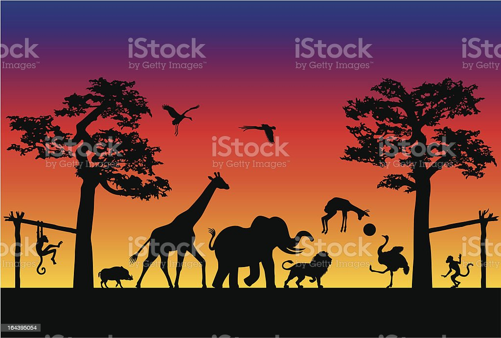 Animal Soccer Match in Africa vector art illustration