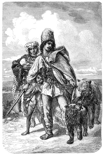 Animal tamer with bear in Transylvania Rumania Original edition from my own archives Source :