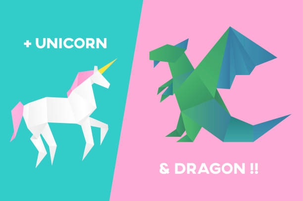 Royalty Free Origami Dragon Clip Art Vector Images Illustrations