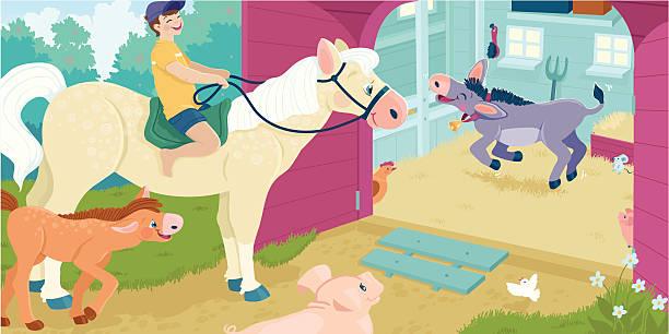 Animals At The Farm Barn Vector Art Illustration