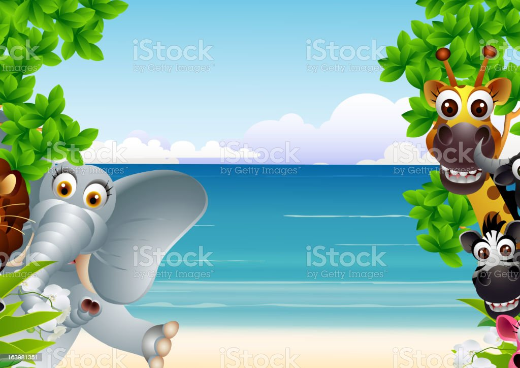 animals cartoon with tropical beach background royalty-free stock vector art