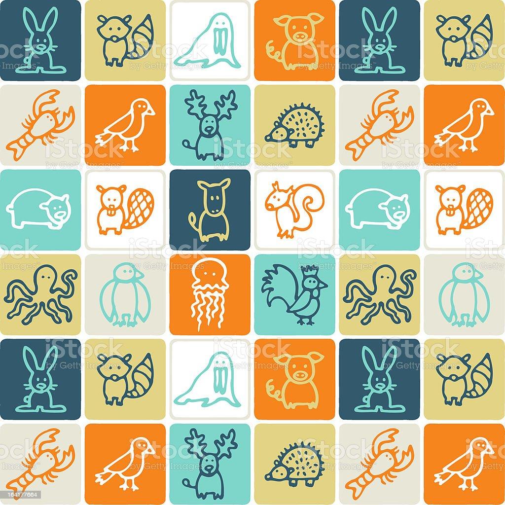 Animals checked pattern 2 vector art illustration
