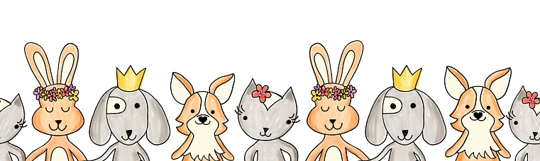 Animals cute seamless border on a white background. Repeating horizontal kids pattern painted dog, cat, rabbit, bunny. Cartoon cute illustration for baby shower invitations, cards, fabric trim.