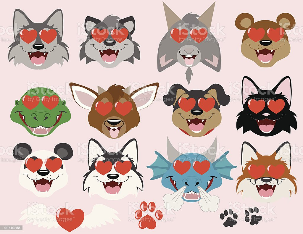 Animals in Love emoticons royalty-free stock vector art