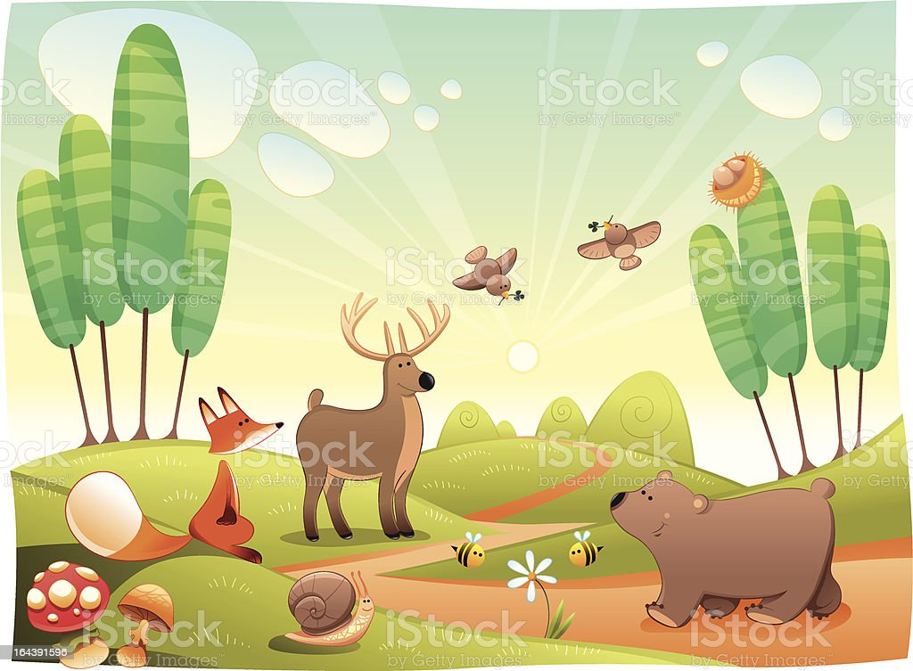 Animals in the wood. royalty-free stock vector art