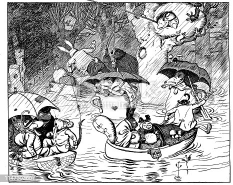 Animals on boats in the rain