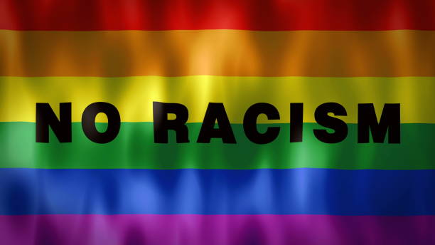 animated rainbow flag with the words No Racism, ideal footage to sensitize discriminatory abuses in gay social circles animated rainbow flag with the words No Racism, ideal footage to sensitize discriminatory abuses in social and gay environments discriminatory stock illustrations