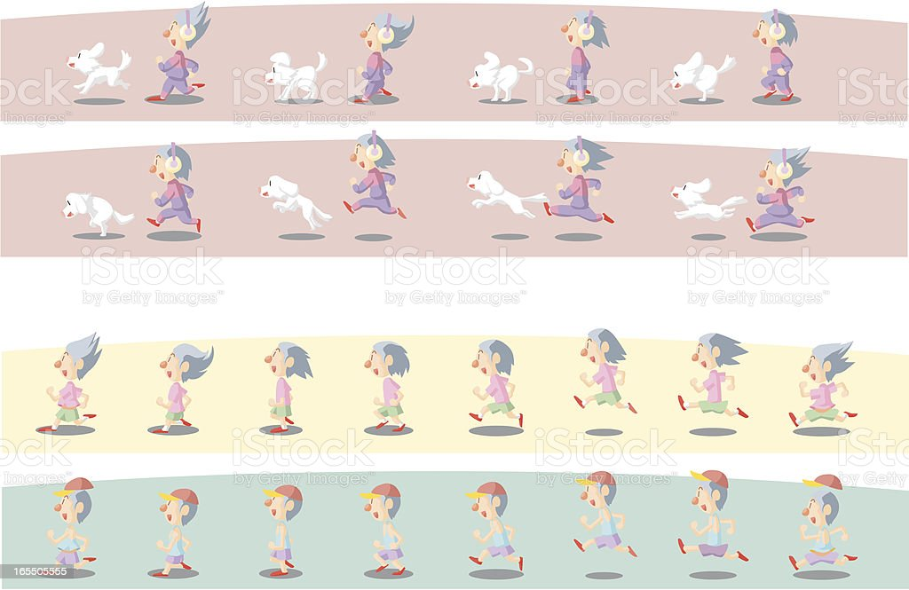 Animation Frames Of A Running Boy And Dog Stock Vector Art & More ...