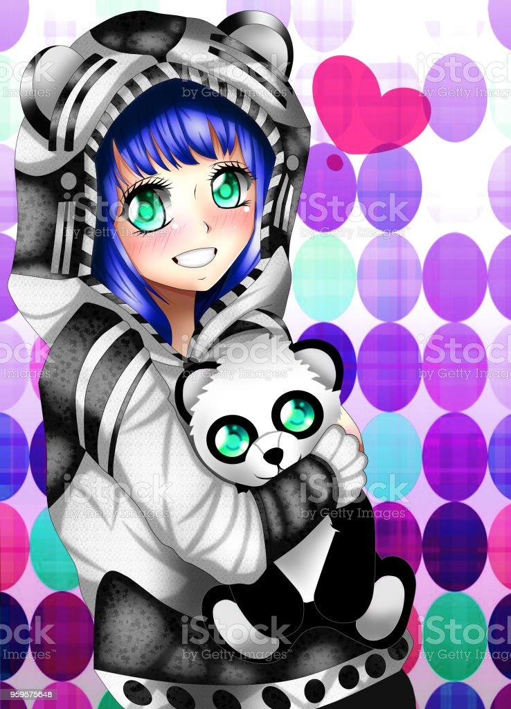 Vetores De Anime Menina De Panda E Mais Imagens De Adulto