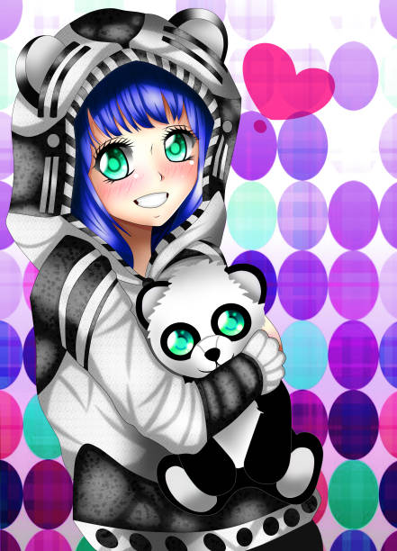 anime panda girl - anime girl stock illustrations