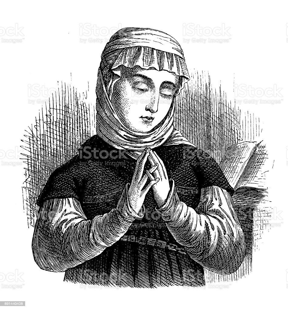 Anna Reinhart (around 1484 in Zurich , December 24, 1538 ) was the wife of the Zurich reformer Huldrych Zwingli vector art illustration