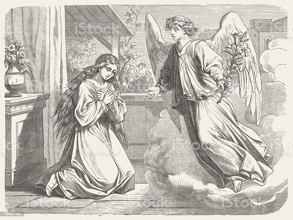 Annunciation to Mary (Luke 1, 26-38), wood engraving, published 1877 royalty-free annunciation to mary wood engraving published 1877 stock vector art & more images of angel